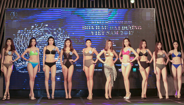 Các thí sinh Hoa hậu Đại dương 2017 trong vòng thi bikini tại vòng sơ tuyển khu vực phía Nam.