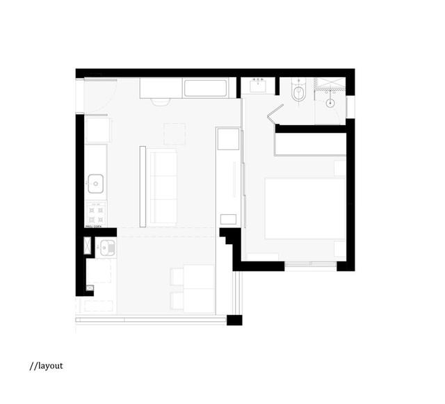Mặt bằng căn hộ 38 m2.