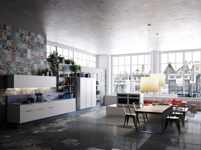 12. Sự xuất hiện của gạch bông khiến căn bếp công nghiệp trở nên sinh động và thu hút hơn nhiều.