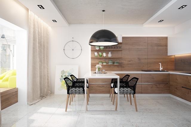 12. Sàn nhà lót đá cẩm thạch, tủ và hệ thống kệ mở bằng gỗ tối màu, bàn ăn bằng đá và bộ ghế màu đen bóng,… Chúng là sự kết hợp của những vật liệu phong phú và thiết kế đẹp mắt, đáng giá đồng tiền.