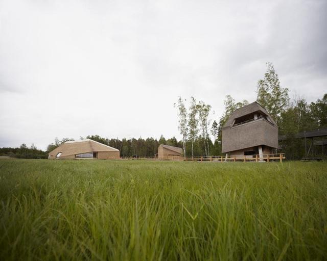 Nằm ở khu vực đồng cỏ lớn của Gianas ở Thụy Điển, bộ 3 ngôi nhà bằng mái tranh này đã hòa mình vào thiên nhiên tuyệt đối. Ngôi nhà được thiết kế vào năm 2008 bởi Wingardh Arkitektkontor AB. Điểm đặc biệt ở đây là cả 3 ngôi nhà đều được được ốp tranh toàn bộ.