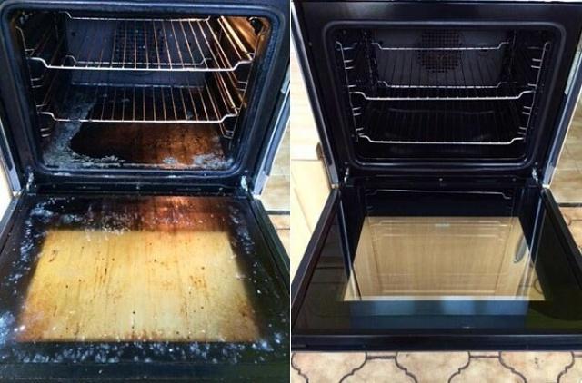 Hỗn hợp nước và giấm có thể được sử dụng để làm sạch lò nướng. Thoa đều hỗn hợp này lên bề mặt trong của lò cũng ngăn không cho dầu mỡ bám lên trong khi nấu. Tương tự như vậy, bạn có thể dùng cách này cho lò vi sóng.