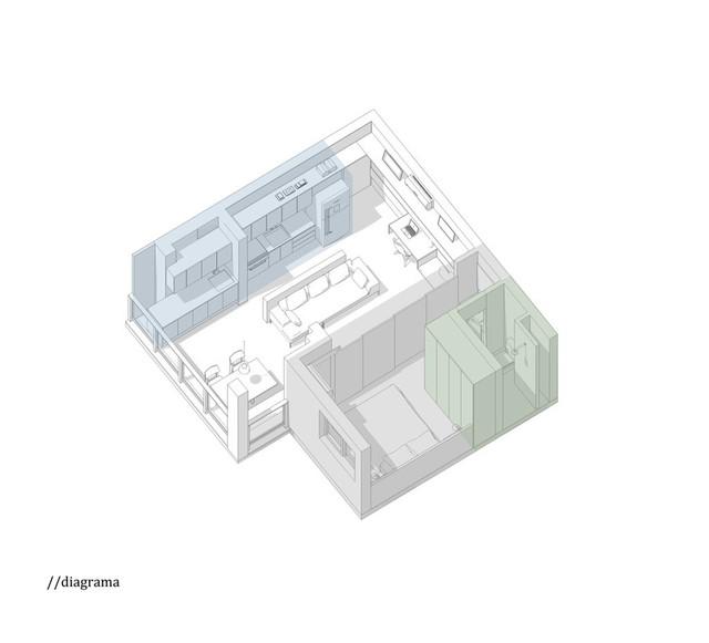 Phối cảnh 3D căn hộ 38 m2.