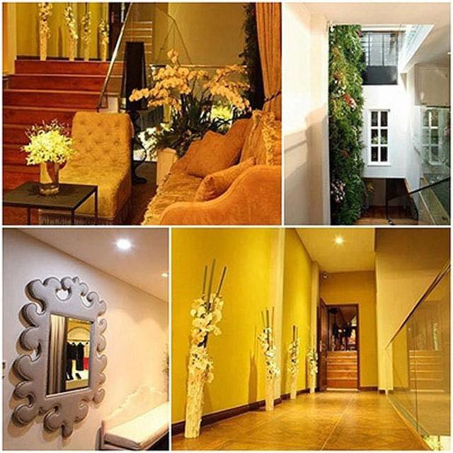 Bên trong biệt thự của Mỹ Tâm khá khang trang rộng rãi được thiết kế tông màu vàng nổi bật.