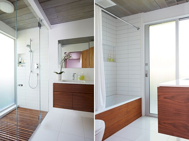 Đối với không gian phòng tắm thì gỗ được sử dụng thích hợp nhất vào những chiếc tủ lưu trữ, sàn nhà và trần nhà.