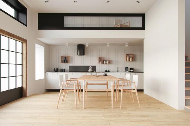 13. Phòng ăn này không chỉ rộng rãi mà còn được cộng điểm bởi sự thú vị của mình. Bức tường trắng với đường sọc đẹp mắt cùng bộ kệ gỗ hình hộp tăng khả năng lưu trữ, bàn ăn và sàn nhà thì sắc màu như hòa làm một.