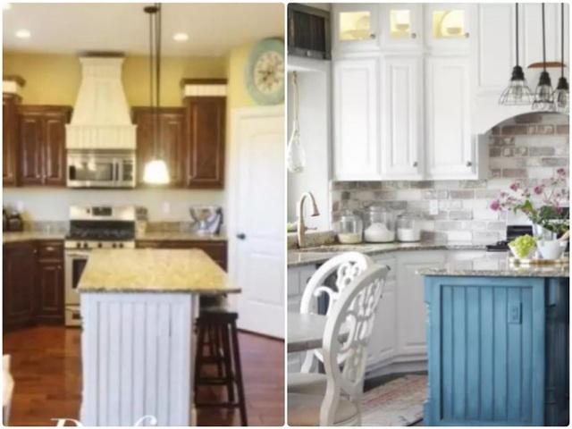 13. Một căn bếp đơn điệu với hệ thống tủ đựng đồ và tường màu trắng. Hãy thổi hồn sức sống cho không gian nhỏ này bằng hệ thống tủ màu xanh lam, một chút sắc màu nhấn nhá của gạch ốp cho căn bếp thêm cá tính.