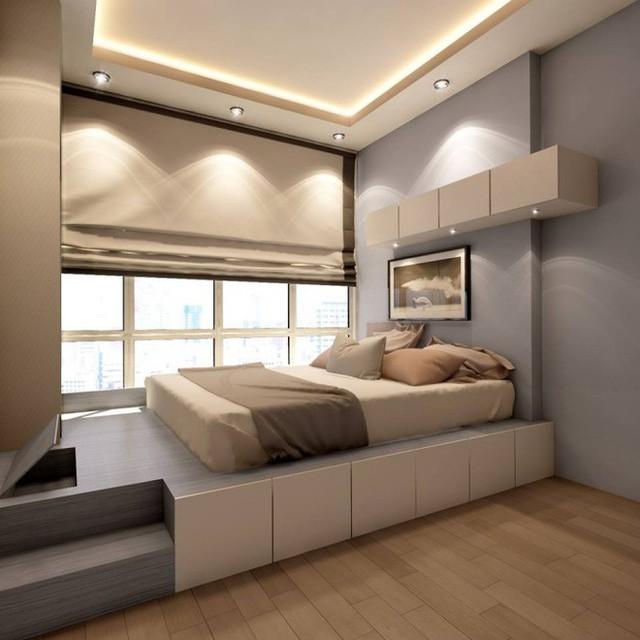 Một chiếc giường giật cấp luôn là món quà tuyệt vời hơn bất kỳ món quà nào dành cho người sống trong phòng nhờ cách tạo điểm nhấn trên tường và đặt giường cạnh khung cửa sổ mộng mơ, tràn ngập ánh sáng.