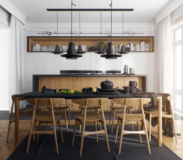 14. Khác biệt với những thiết kế nói trên, ý tưởng này dành cho chủ nhân yêu thích sự mạnh mẽ. Bên cạnh màu trắng và nội thất gỗ thì màu đen từ thảm trải sàn, mặt bàn, đèn thả và đồ dùng bằng gốm khiến phòng ăn trở nên cá tính.