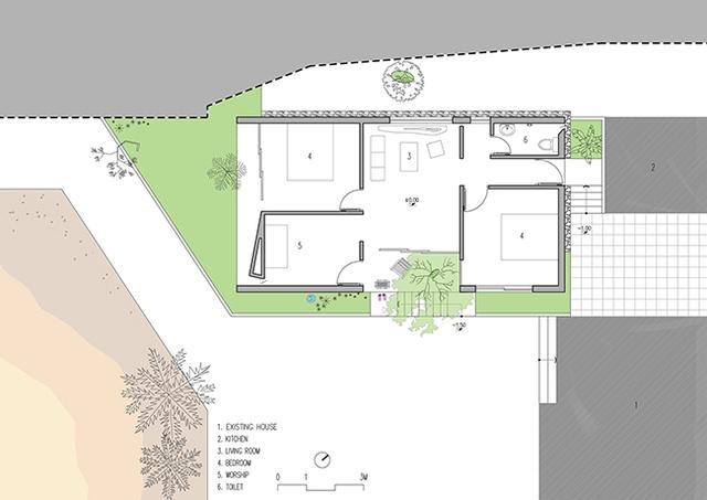 Bản phác thảo kiến trúc ngôi nhà. Được biết, ngôi nhà được hoàn thiện cả thiết kế và xây dựng chỉ trong khoảng 3 tháng.