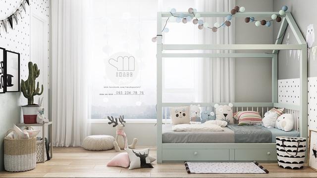 Không gian dành cho trẻ sơ sinh cũng được thiết kế khá ấn tượng với một bức tường làm điểm nhấn nhờ họa tiết chấm bi của giấy dán.
