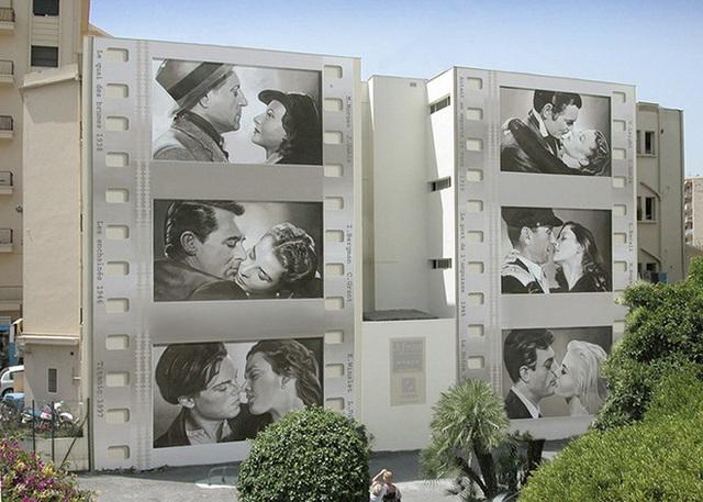 Vẽ nên những nội dung, chủ đề về phim điện ảnh nổi tiếng cũng là ý tưởng giúp những bức tường mặt tiền bớt đi sự nhàm chán, đơn điệu.