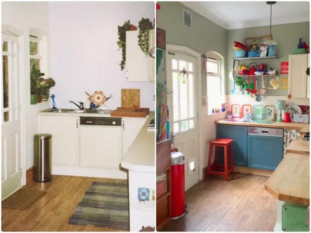 14. Hãy thêm sắc màu cho bếp để không gian nhỏ trở nên vui nhộn. Đồng thời tạo sự cân bằng cho không gian bằng cách thêm kệ trên tường, thêm những sắc màu từ vật dụng, đồ dùng cần thiết.