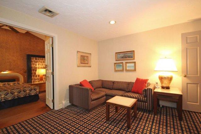 Bộ sofa kẻ sọc tạo kết nối mạnh mẽ với tấm thảm trải sàn caro.