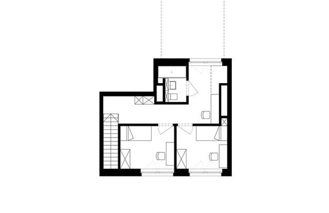 Mặt bằng hai tầng căn hộ.