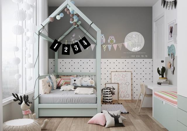 Bé yêu sẽ đón nhận không gian nhỏ xinh và căn phòng trở thành người bạn trong suốt thời ấu thơ nhờ sắp xếp màu sắc linh hoạt.