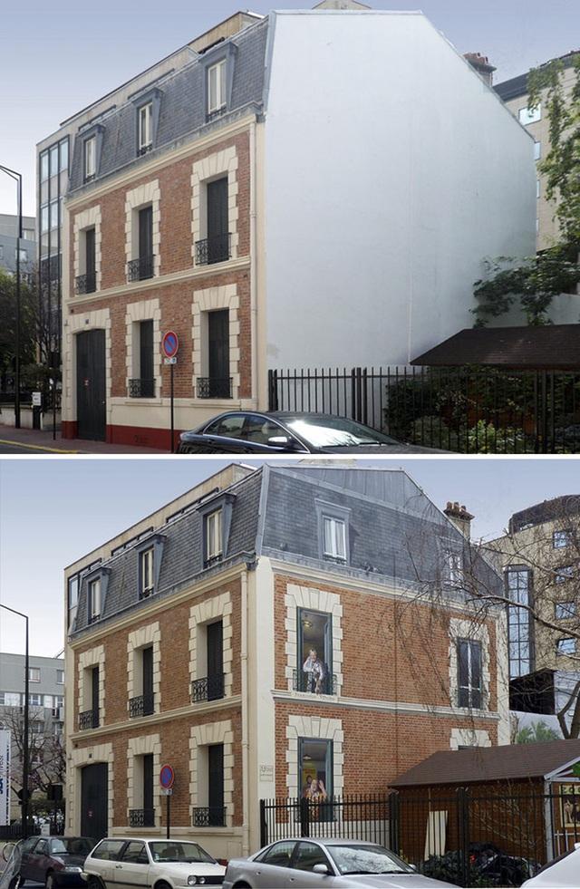 Thay vì ốp gạch cho mặt bên của tòa nhà, họa sĩ đã tô vẽ thêm những ô cửa và gạch trần từ nét bút sáng tạo của mình.