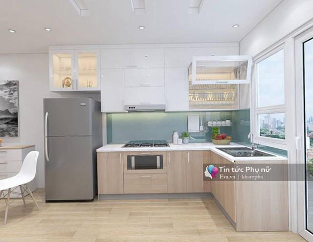 Không gian bếp, đặc biệt là bồn rửa được thiết kế gần ban công nhằm làm tăng hứng thú nấu ăn, rất phù hợp với những người yêu thích công việc nội trợ.