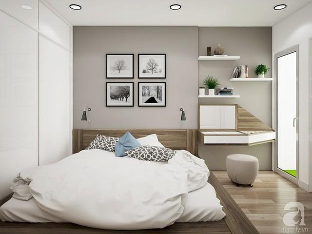 Phần tường đầu giường màu ghi xám giúp không gian đẹp hiện đại, bình yên và rộng hơn nhiều so với diện tích thực.