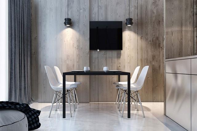 17. Bạn có phát hiện được sự độc đáo trong thiết kế căn phòng này? Đó chính là những tấm gỗ tạo thành cửa trượt linh hoạt che khuất chiếc tivi khi cần thiết, từ đó tạo cho khu vực ăn uống sự yên tĩnh, nhẹ nhàng.