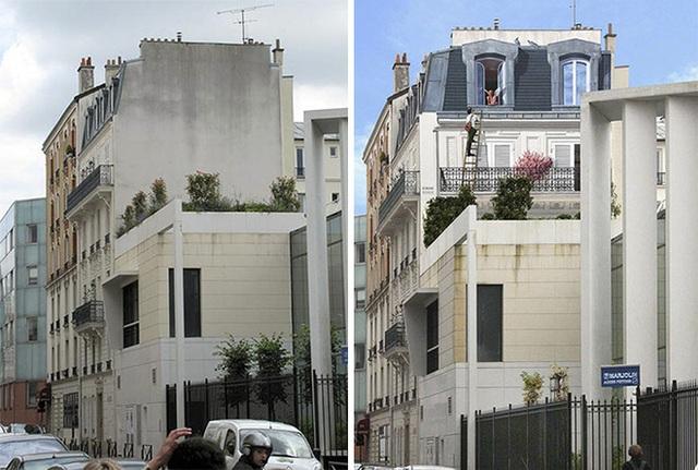 Tận dụng mảng tường phía trên của tòa nhà để vẽ nên câu chuyện tình cảm động Romeo và Juliet.