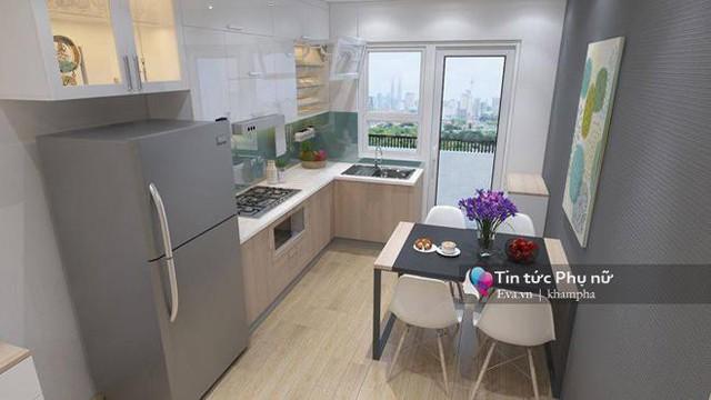 Không gian bếp được trang trí và bày biện khá đẹp mắt, màu xanh làm điểm nhấn chính giúp không gian không bị đơn điệu, nhàm chán.