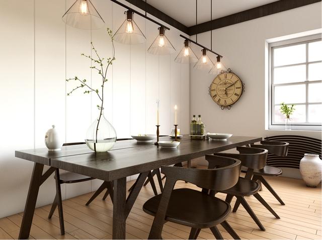 18. Và cuối cùng, ý tưởng này thể hiện sự thống trị của gỗ với gam màu đậm, sắc nét. Bộ bàn ăn cổ điển, hài hòa với phong cách chung của căn phòng. Và sắc trắng của bức tường lúc này đóng vai trò làm tôn lên vẻ đẹp của màu gỗ.