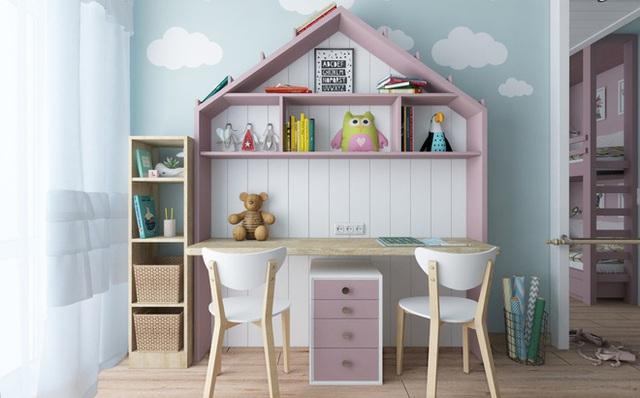 Màu xanh của bầu trời kết hợp với những đám mây mang đến thế giới diệu kỳ cho căn phòng của bé.