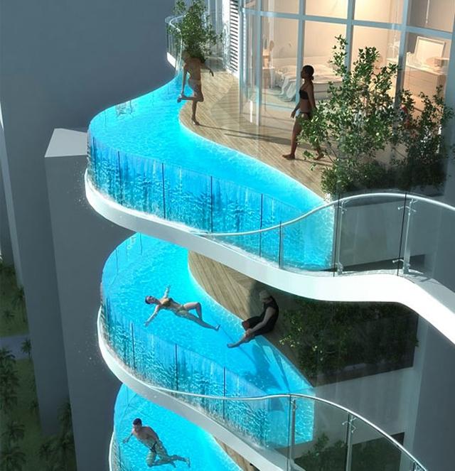 Bể bơi vô cực ngoài ban công.