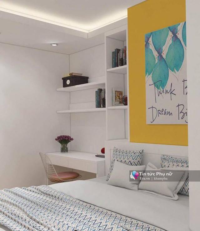 Điểm nhấn của căn phòng ngủ là mảng tường và phần ngăn kéo đựng đồ màu vàng tạo sự sinh động, trẻ trung.