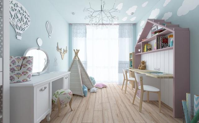 Những đồ dùng trang trí như kệ gắn tường, túp lều cổ tích hay đèn chùm là những chi tiết tuyệt vời định hình phong cách dễ thương và đáng yêu cho phòng của bé.