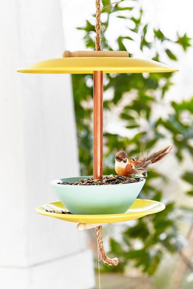 20. Cho chim cảnh trong vườn nhà bạn ăn theo cách vừa cũ vừa mới này nhờ các bát ăn cơm hỏng của gia đình. Trông cũng phong cách và sang trọng đấy chứ.