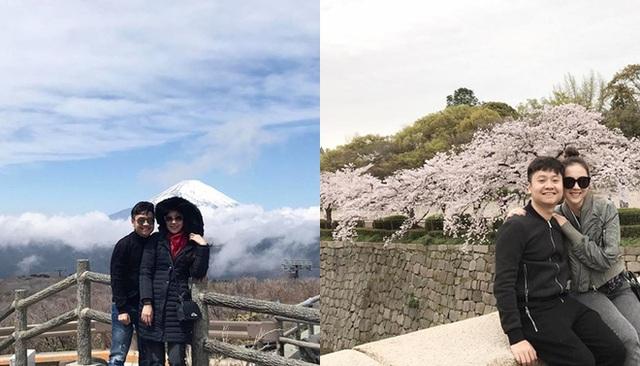 Không chỉ chịu chơi bên trời Tây, vợ chồng Mai Ngọc còn tình tứ bên nhau ở Nhật Bản.