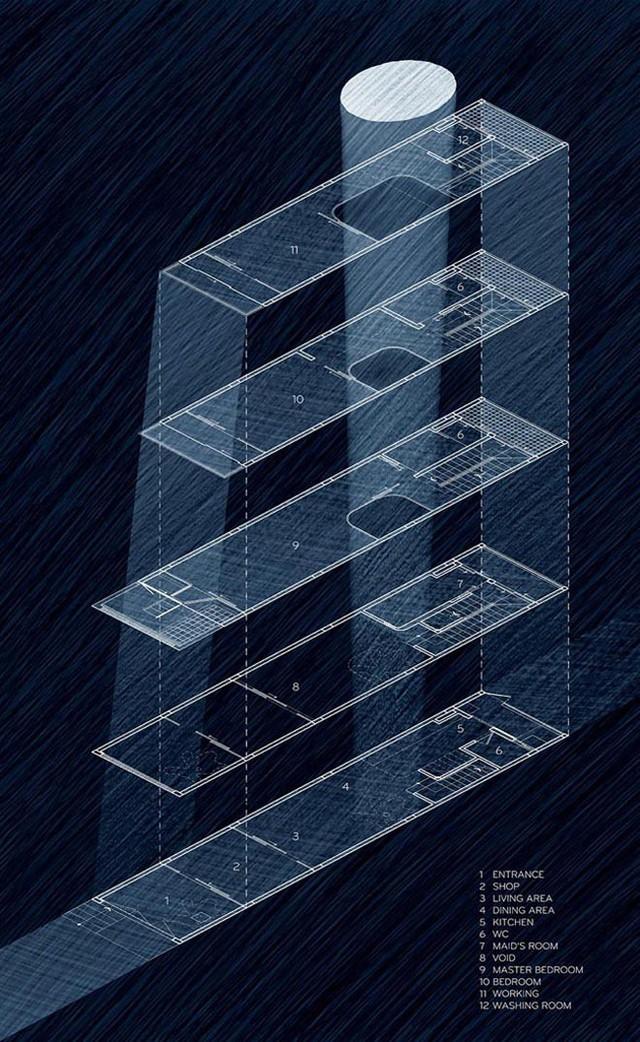 Mô tả kiến trúc ngôi nhà dạng bản vẽ 3D.