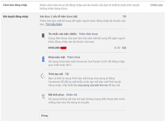 Xác thực đăng nhập bằng hai yếu tố để tăng tính bảo mật cho Facebook cá nhân. Ảnh: Chụp từ màn hình.
