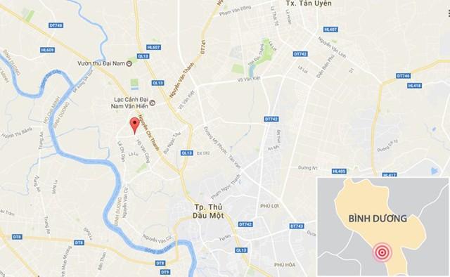 Băng nhóm bị công an bắt tại phường Tương Bình Hiệp, TP Thủ Dầu Một, Bình Dương. Ảnh: Google Maps.