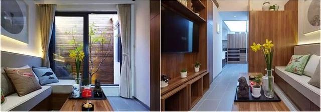 Không gian phòng khách đẹp tinh tế với nội thất gỗ.