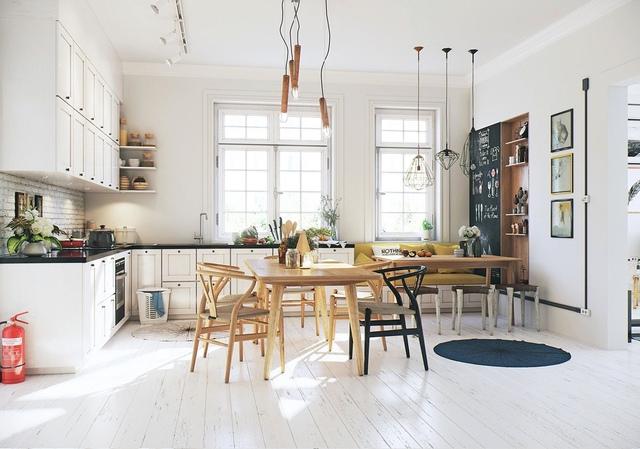 3. Một không gian đặc trưng của phong cách Scandinavian, mang đậm tính chiết trung, hòa quyện giữa cái cũ và cái mới. Đặc biệt, nhắc đến phong cách này không thể bỏ qua hai yếu tố: màu trắng và gỗ tự nhiên.