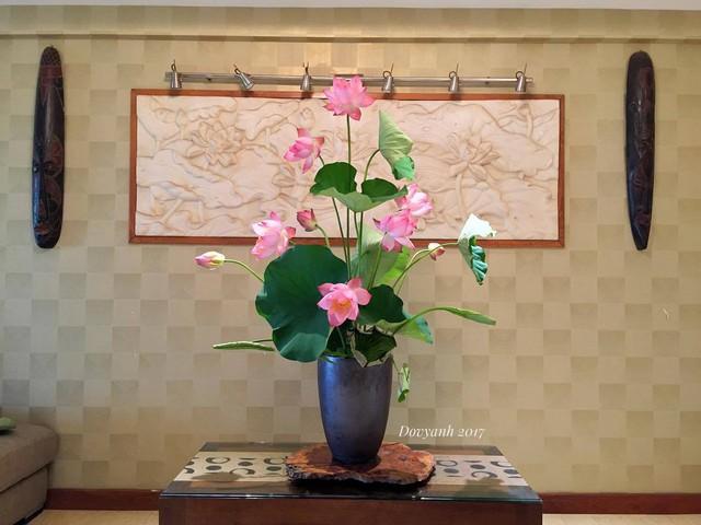 Bình hoa sen cắm mừng ngày Phật đản của anh Đỗ Vy Anh