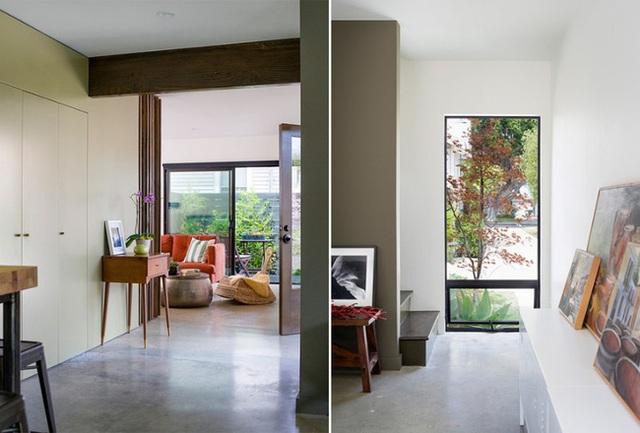 Điểm chung của các không gian trong nhà sau khi được cải tạo lại là sử dụng các cửa kính lớn đón ánh sáng vào tạo độ thoáng đãng. Các đồ nội thất được sử dụng đều có màu sắc nổi bật, bắt mắt tạo sự sinh động, nhiệt huyết cho ngôi nhà.