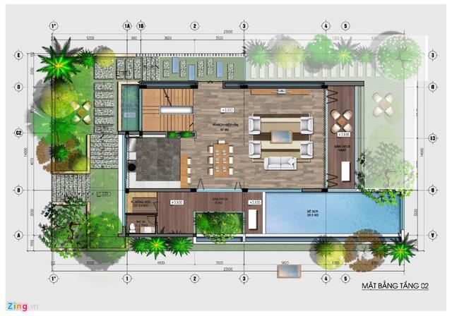 Các tầng trên cao làm nơi sinh hoạt chung như phòng khách, bếp, bể bơi...