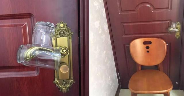 Đặt 2 chiếc cốc và ghế như hình trên để phòng trộm đột nhập vào nhà.