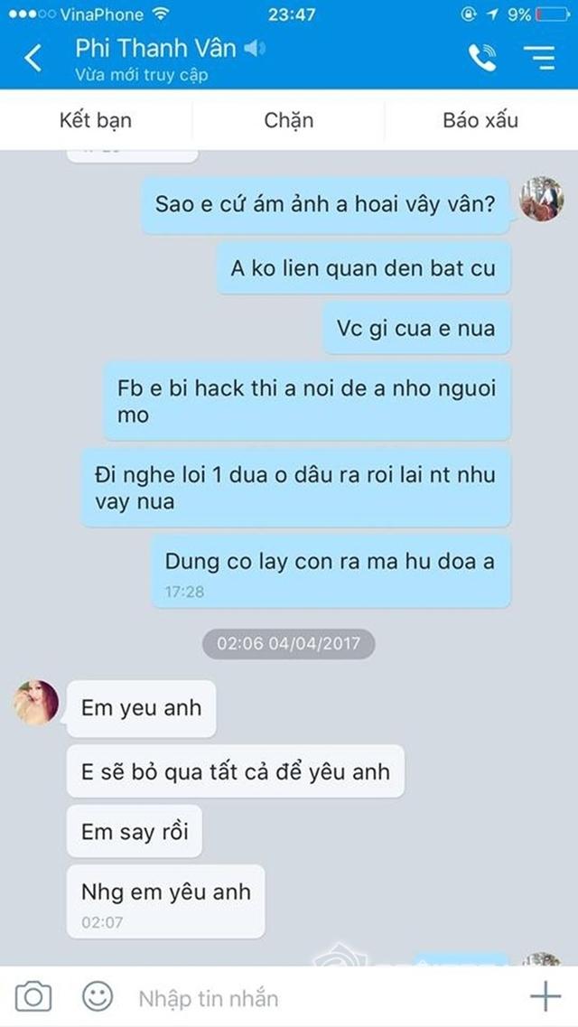 Một đoạn tin nhắn của Phi Thanh Vân và chồng cũ