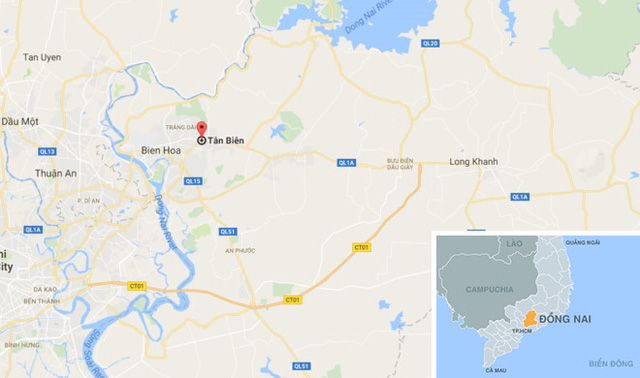 Vụ việc xảy ra tại phường Tân Biên, TP Biên Hòa, Đồng Nai. Ảnh: Google Maps.
