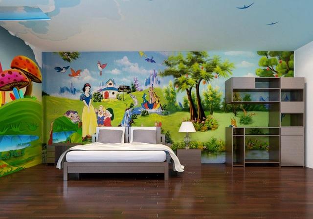 Tranh vẽ tường biến gian phòng như trở về không gian của những câu chuyện cổ tích.