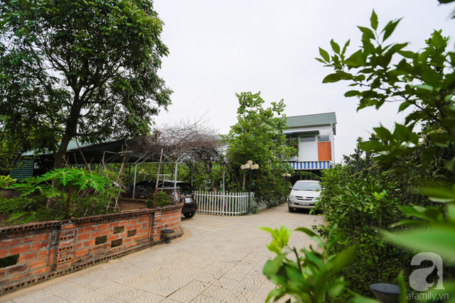 Ngôi nhà nằm bên vườn cây xanh mát.