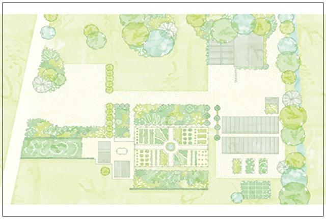 3. Một khu đất rộng để trồng cây cảnh, làm sân chơi, tạo vẻ đẹp cho không gian sống thì có thể tạo các khoảng rộng trồng cỏ, thêm những bụi hoa, tán cây và nên có thêm những khu trồng rau ở trung tâm tạo vẻ đẹp đa dạng cho cảnh quan.