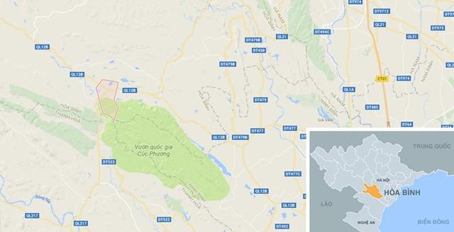 Đường Hồ Chí Minh đoạn qua xã Yên Nghiệp (chấm đỏ) nơi xảy ra tai nạn. Ảnh: Google Maps.