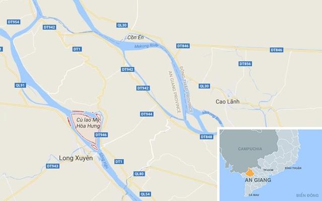 Xã Mỹ Hòa Hưng (màu đỏ) ở An Giang. Ảnh: Google Maps.