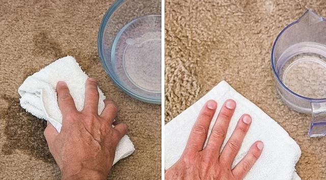 Trộn một muỗng canh xà phòng, một muỗng canh giấm trắng và 2 ly nước ấm. Hỗn hợp này giúp bạn loại bỏ vết bẩn khô cũ, ngay cả với rượu vang và cà phê. Bạn cũng có thể sử dụng hỗn hợp này trong máy rửa chén với một chất tẩy phù hợp cho bát đĩa.